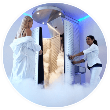 a chiropractic assistant helping a woman get ready for cryotherapy