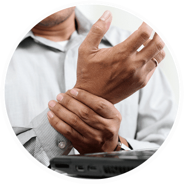 an office worker in need of treatment for carpal tunnel syndrome