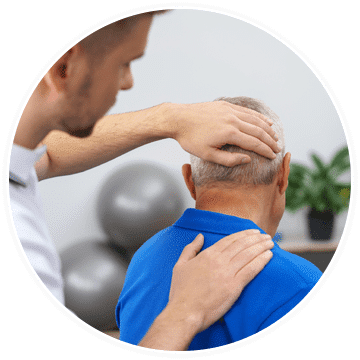 an older man getting a chiropractic adjustment to treat post laminectomy syndrome