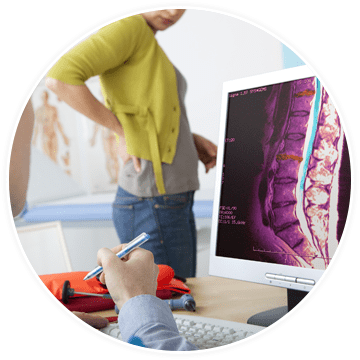 a woman seeking medical treatment for spinal compression fracture